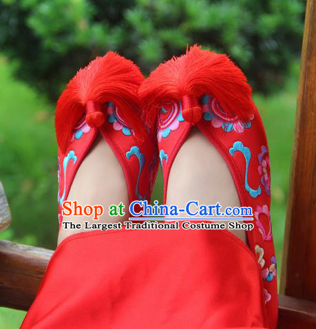Traditional Chinese Embroidered Peony Red Shoes Handmade Hanfu Wedding Shoes National Cloth Shoes for Women