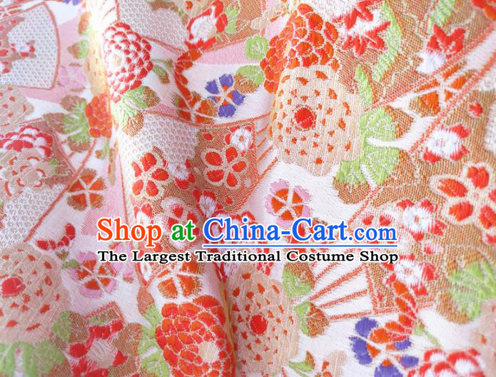 Asian Japan Traditional Peony Pattern Design Pink Brocade Damask Fabric Kimono Satin Material