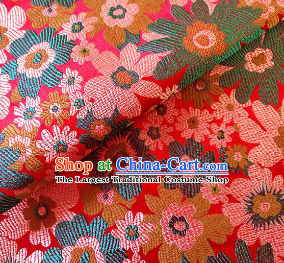 Asian Chinese Traditional Sunflowers Pattern Design Red Brocade Cheongsam Fabric Silk Material