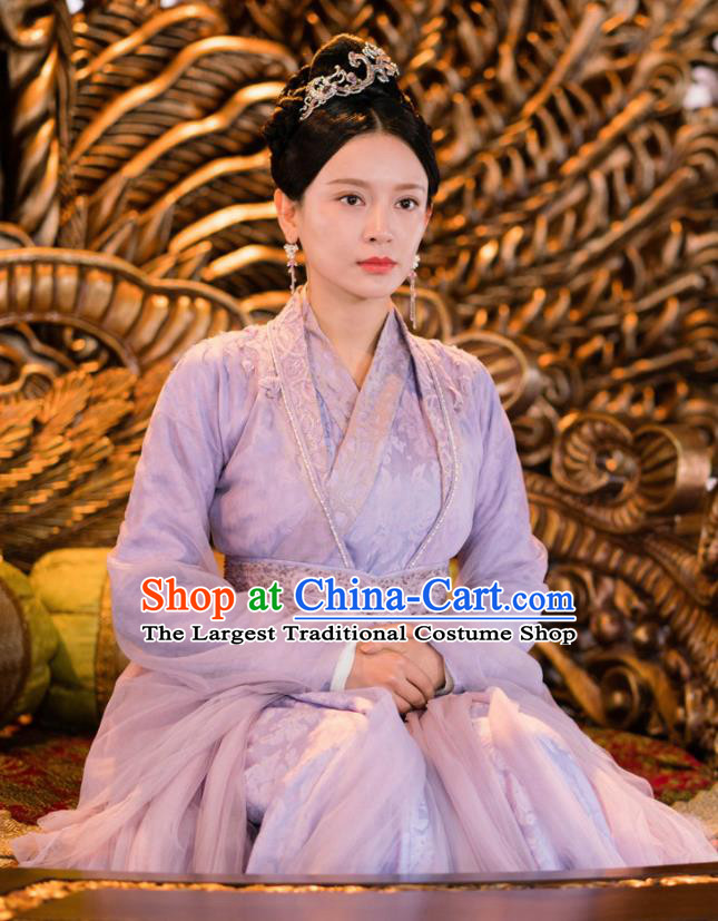 Ancient Chinese Drama Ever Night Traditional Tang Dynasty Imperial Empress Xia Tian Purple Costumes for Women