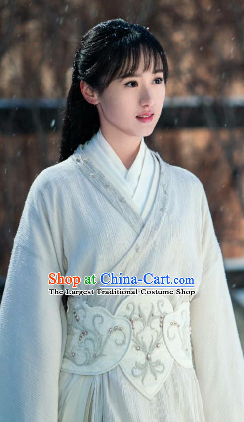 Ever Night Ancient Chinese Drama Traditional Tang Dynasty Royal Princess Mo Shanshan White Costumes for Women