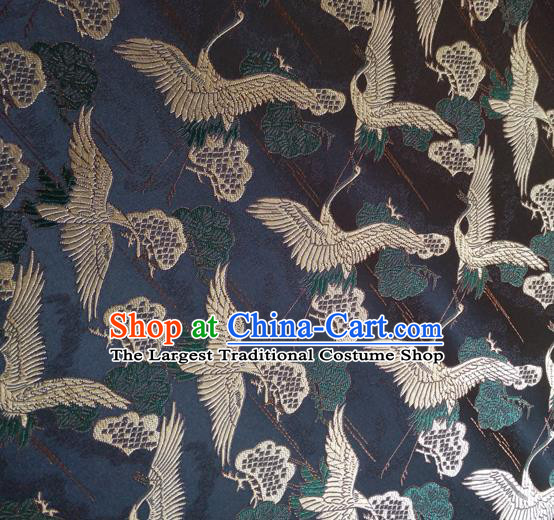 Asian Japan Traditional Cranes Pattern Design Black Brocade Damask Fabric Japanese Kimono Satin Material