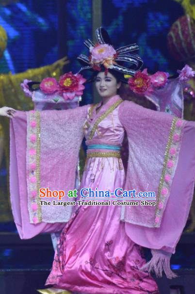 Chinese The Romantic Show of Sanya Dance Pink Dress Stage Performance Costume and Headpiece for Women