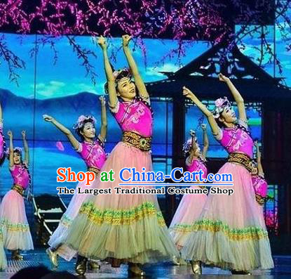 Chinese The Romantic Show of Lijiang Yi Nationality Dance Dress Stage Performance Costume and Headpiece for Women