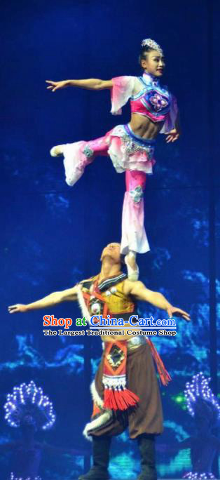 Chinese The Romantic Show of Lijiang Stage Performance Yi Nationality Dance Costumes for Women for Men