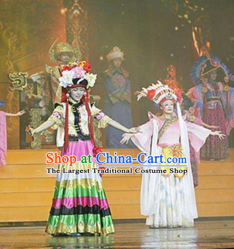 Chinese The Romantic Show of Lijiang Yi Ethnic Nationality Dance Dress Stage Performance Costume and Headpiece for Women
