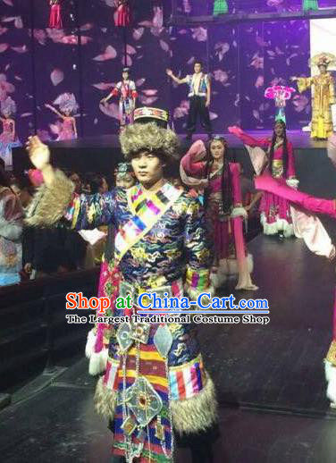 Chinese The Romantic Show of Lijiang Stage Performance Zang Ethnic Nationality Dance Costume for Men