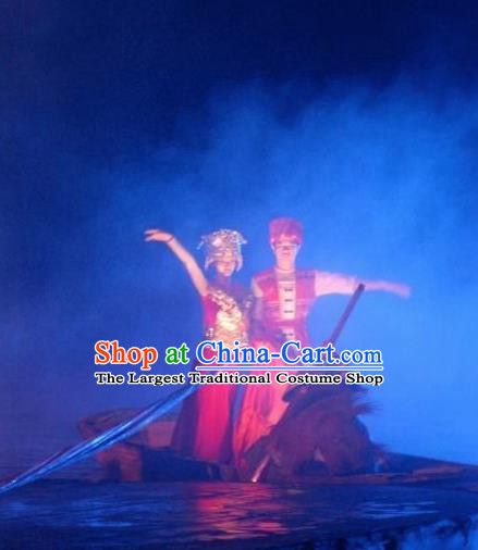 Chinese Impression Shjie Liu Stage Performance Zhuang Nationality Dance Costumes for Women for Men