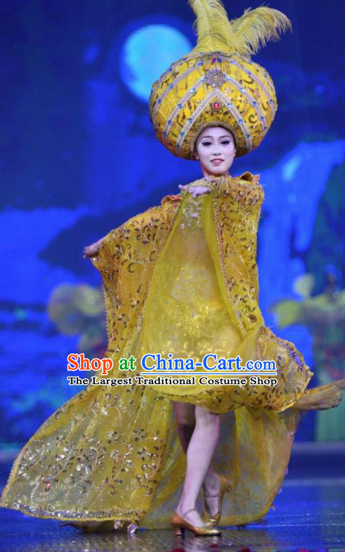 Chinese The Romantic Show of Sanya Yellow Dress Stage Performance Dance Costume and Headpiece for Women