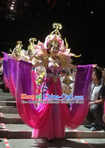 Chinese The Romantic Show of Sanya Purple Dress Stage Performance Dance Costume and Headpiece for Women
