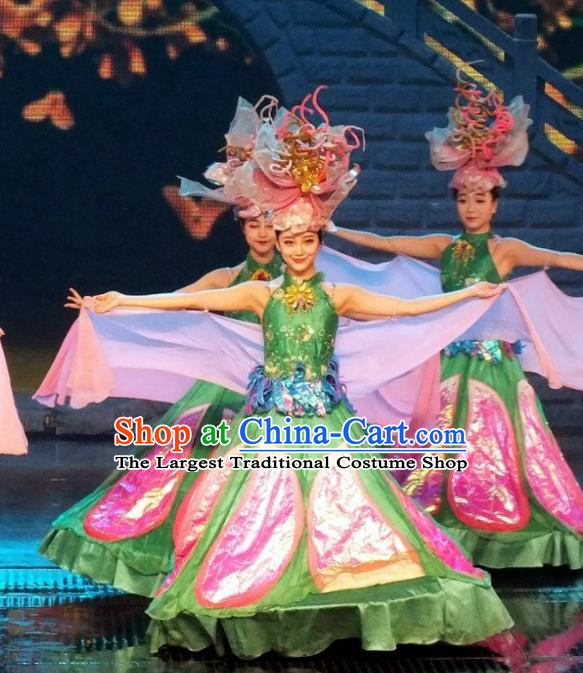 Chinese The Romantic Show of Songcheng Dance Green Dress Stage Performance Costume and Headpiece for Women