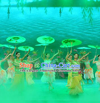 Chinese The Romantic Show of Songcheng West Lake Legend Dance Green Dress Stage Performance Costume for Women