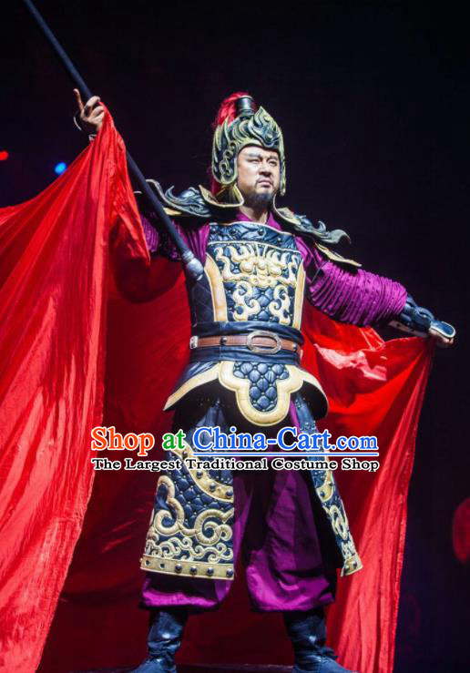 Chinese The Romantic Show of Songcheng General Helmet and Body Armour Stage Performance Dance Costume for Men