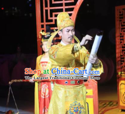 Chinese The Dream of Tang Dynasty Xuan Emperor Li Longji Stage Performance Dance Costume for Men