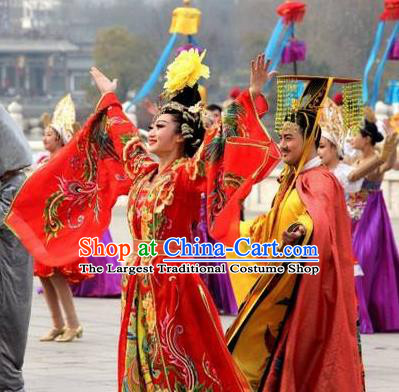 Chinese The Dream of Tang Dynasty Consort Yang and Xuan Emperor Stage Show Costumes for Women for Men