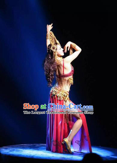 Chinese The Romantic Show of Songcheng Palace Feast Dance Red Dress Stage Performance Goddess Costume and Headpiece for Women