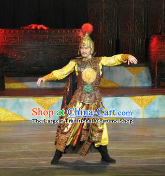 Chinese The Dream of Datang Tang Dynasty General Helmet and Armour Stage Performance Dance Costume for Men