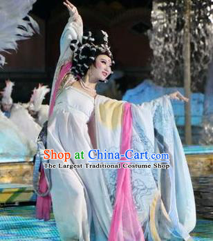 Chinese The Long Regret Tang Dynasty Imperial Consort Dance White Dress Stage Performance Costume for Women