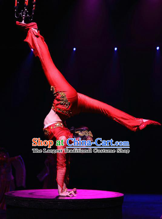Chinese The Romantic Show of Songcheng Palace Dance Dress Stage Performance Goddess Red Costume and Headpiece for Women