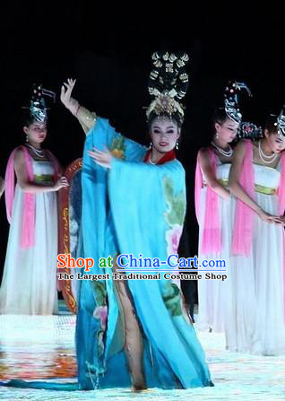 Chinese The Long Regret Tang Dynasty Court Dance Blue Dress Stage Performance Costume for Women