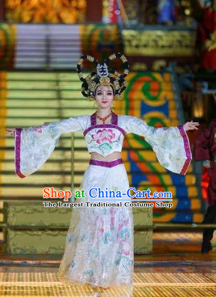 Chinese The Long Regret Tang Dynasty Court Dance White Dress Stage Performance Costume and Headpiece for Women