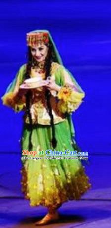 Chinese Back to the Silk Road Uyghur Nationality Dance Green Dress Stage Performance Ethnic Costume for Women