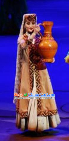 Chinese Back to the Silk Road Uyghur Nationality Dance Khaki Dress Stage Performance Ethnic Costume for Women