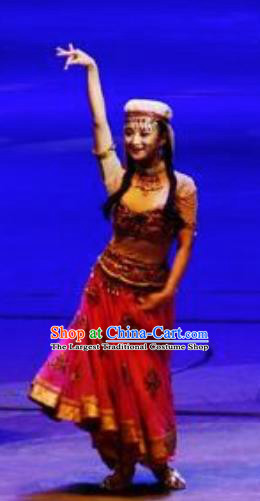 Chinese Back to the Silk Road Uyghur Nationality Dance Red Dress Stage Performance Ethnic Costume for Women