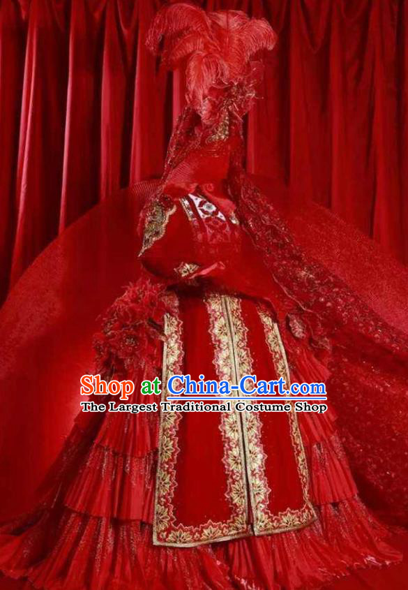 Chinese Back to the Silk Road Kazak Nationality Bride Dance Red Dress Stage Performance Ethnic Costume for Women