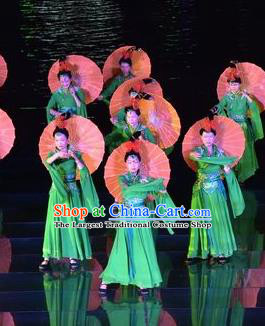Chinese The Dream of Dongjing Song Dynasty Court Dance Green Dress Stage Performance Costume for Women