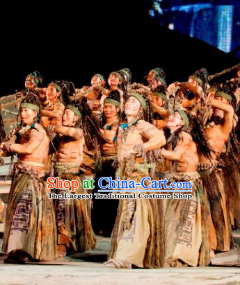 Chinese Chang E The Goddess of The Moon Primitive Tribe Stage Performance Dance Costume for Men