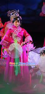 Chinese Chinese The Mystery Show of Huizhou Classical Dance Rosy Dress Stage Performance Costume and Headpiece for Women