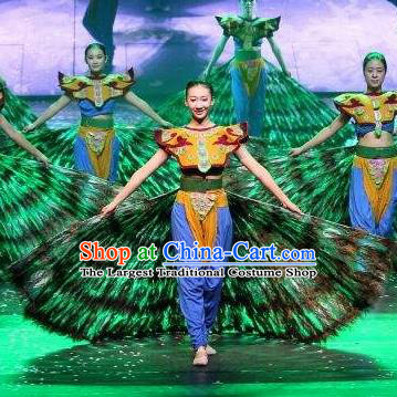 Chinese Dynamic Yunnan Peacock Dance Dress Stage Performance Ethnic Costume for Women