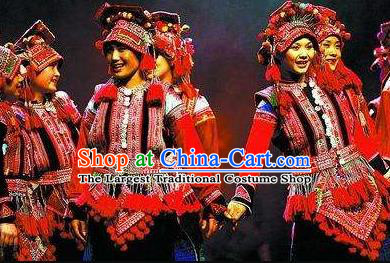 Chinese Dynamic Yunnan Naxi Nationality Dance Dress Stage Performance Ethnic Costume for Women