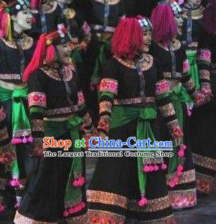 Chinese Dynamic Yunnan Yi Nationality Dance Black Dress Stage Performance Ethnic Costume for Women