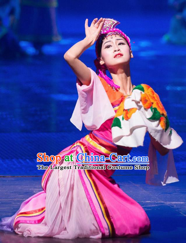 Chinese The Romantic Show of Jiuzhai Folk Dance Dress Stage Performance Costume and Headpiece for Women