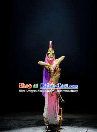 Chinese The Romantic Show of Jiuzhai Dance Pink Dress Stage Performance Costume and Headpiece for Women