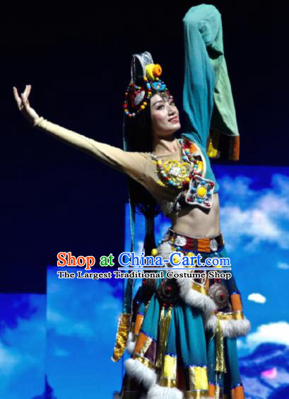 Chinese The Romantic Show of Jiuzhai Tibetan Nationality Dance Blue Dress Stage Performance Costume and Headpiece for Women