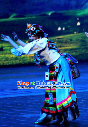 Chinese The Romantic Show of Jiuzhai Tibetan Nationality Dance Dress Stage Performance Costume and Headpiece for Women