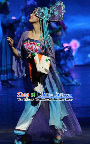 Chinese The Romantic Show of Jiuzhai Classical Dance Purple Dress Stage Performance Costume and Headpiece for Women