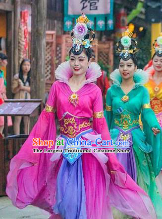 Chinese The Romantic Show of Mingyue Classical Dance Rosy Dress Stage Performance Costume for Women