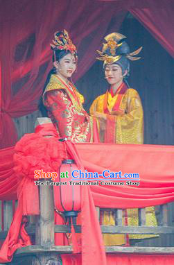 Chinese The Romantic Show of Mingyue Nobility Lady Bride Red Dress Stage Performance Dance Costume for Women