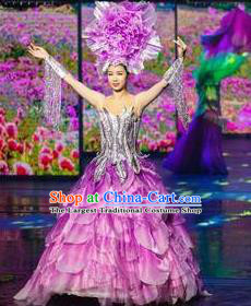 Chinese The Romantic Show of Tanhe Classical Dance Purple Dress Stage Performance Costume for Women