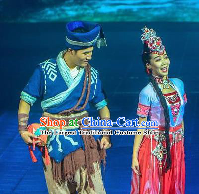 Chinese The Romantic Show of Guilin Zhuang Nationality Stage Show Dance Costumes for Women for Men