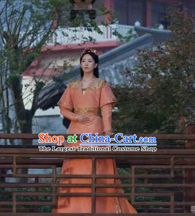 Drama Ever Night Ancient Chinese Royal Infanta Li Yu Orange Dress Traditional Tang Dynasty Court Princess Costumes for Women