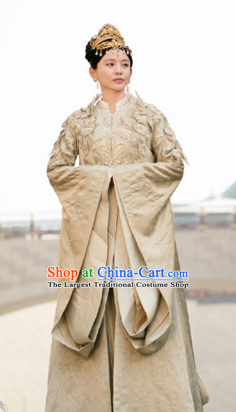 Ancient Chinese Drama Ever Night Court Queen Xia Tian Dress Traditional Tang Dynasty Empress Costumes and Headpiece for Women