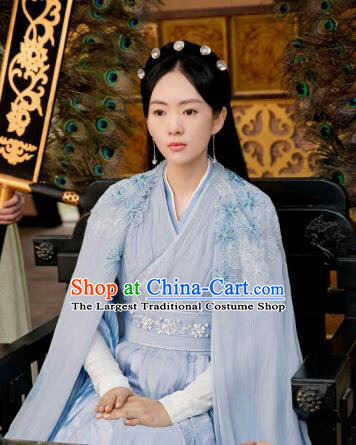 Drama Ever Night Ancient Chinese Court Princess Li Yu Blue Dress Traditional Tang Dynasty Royal Infanta Costumes for Women
