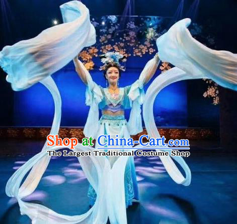 Chinese Chang An Impression Ancient Court Dance Blue Long Ribbon Dress Stage Performance Costume and Headpiece for Women