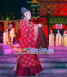 Chinese Chang An Impression Ancient Tang Dynasty Minister Stage Performance Red Costume for Men