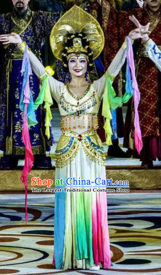 Chinese Chang An Impression Ancient Classical Dance Dress Stage Performance Costume and Headpiece for Women